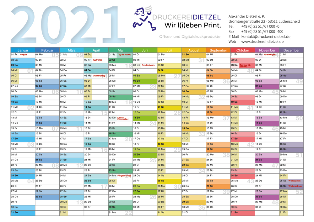 Kalender als Wandplaner
